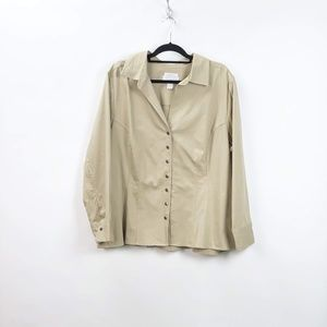 CJ Banks Tan Strectch Rouched Button-up Jacket
